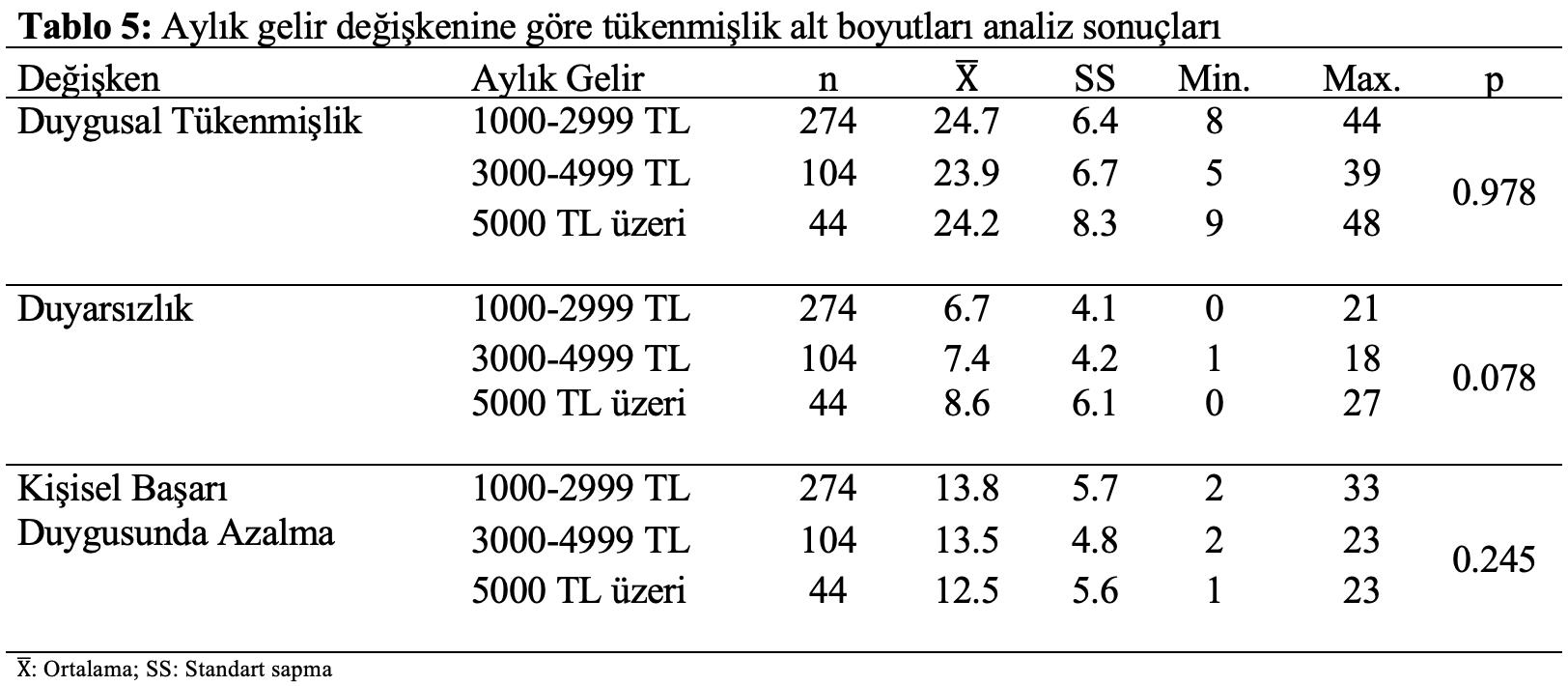istatistik analiz gelir tükenmişlik
