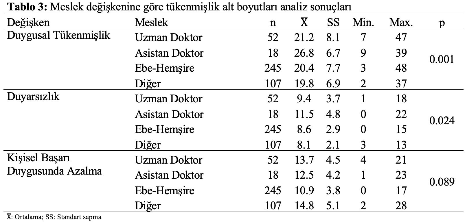 istatistik analiz meslek tükenmişlik