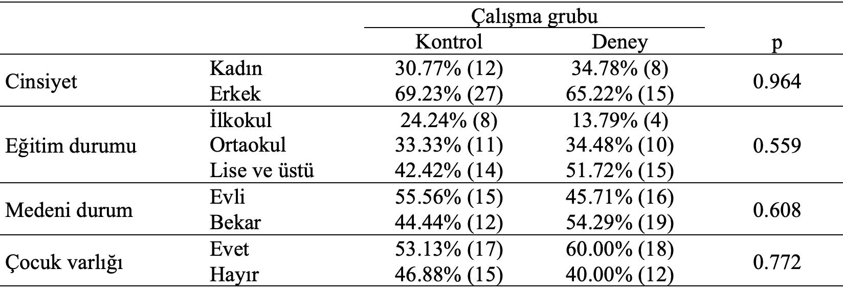 çalışma grubu demografik karşılaştırma